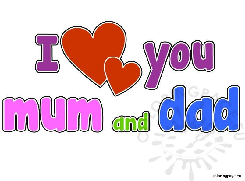 I Love You Mum And Dad Coloring Page