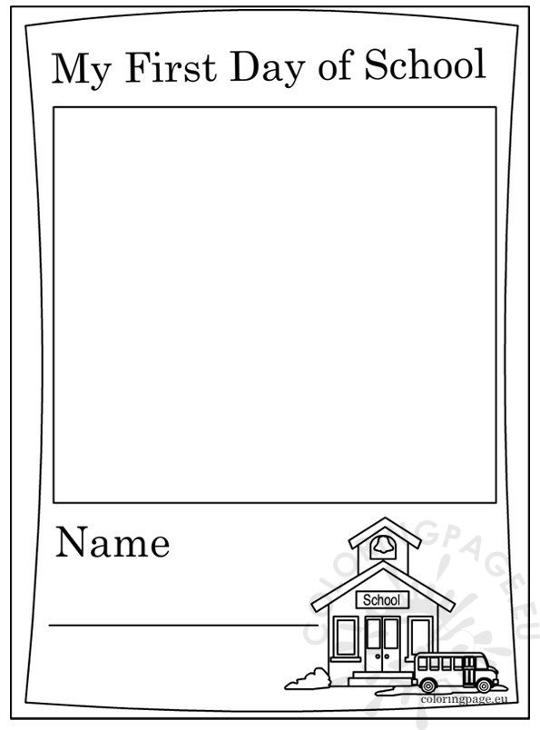 - First Day Of School – Coloring Page