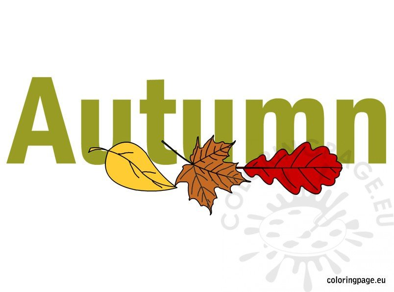 Autumn Written ClipArt Coloring