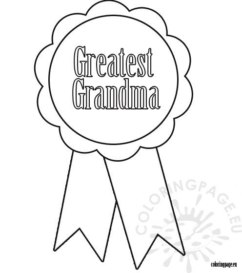 Greatest grandma ribbon coloring page for Grandmother coloring pages