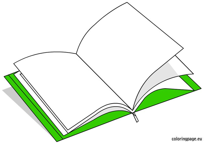 share - Open Book Coloring Page