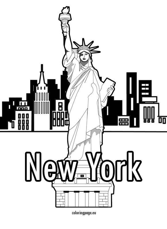 statue of liberty � new york � coloring page
