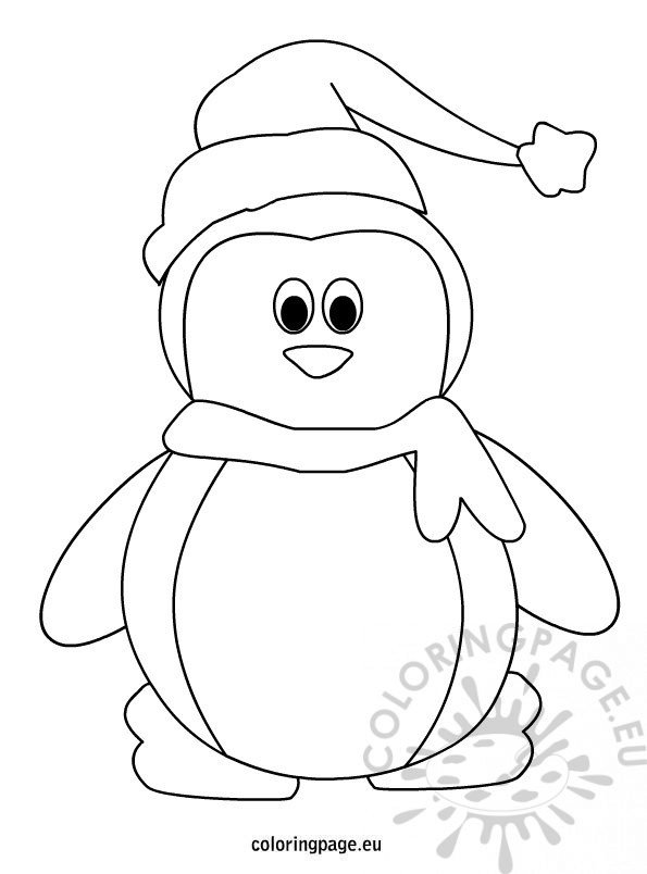 Penguin With Hat And Scarf Coloring Page