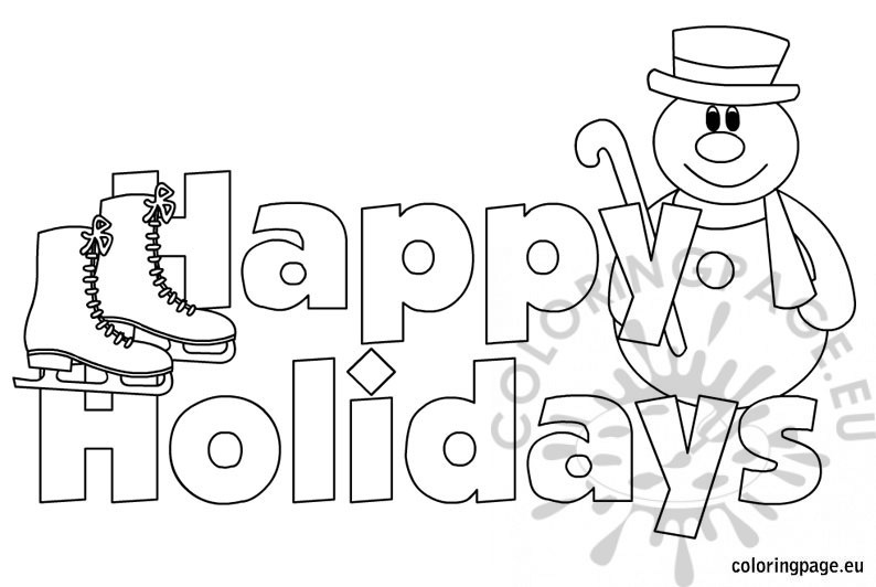 Free Coloring Pages Happy Holidays Coloring Pages