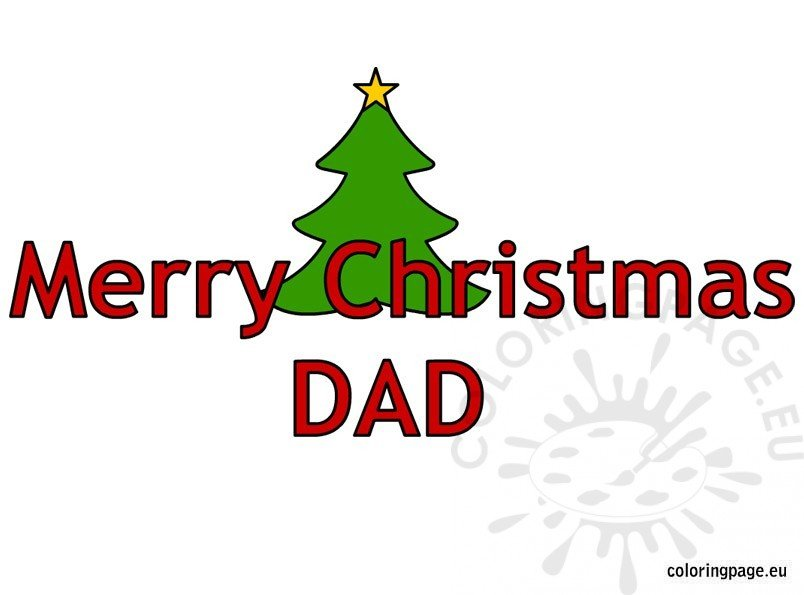 merry christmas dad text coloring page