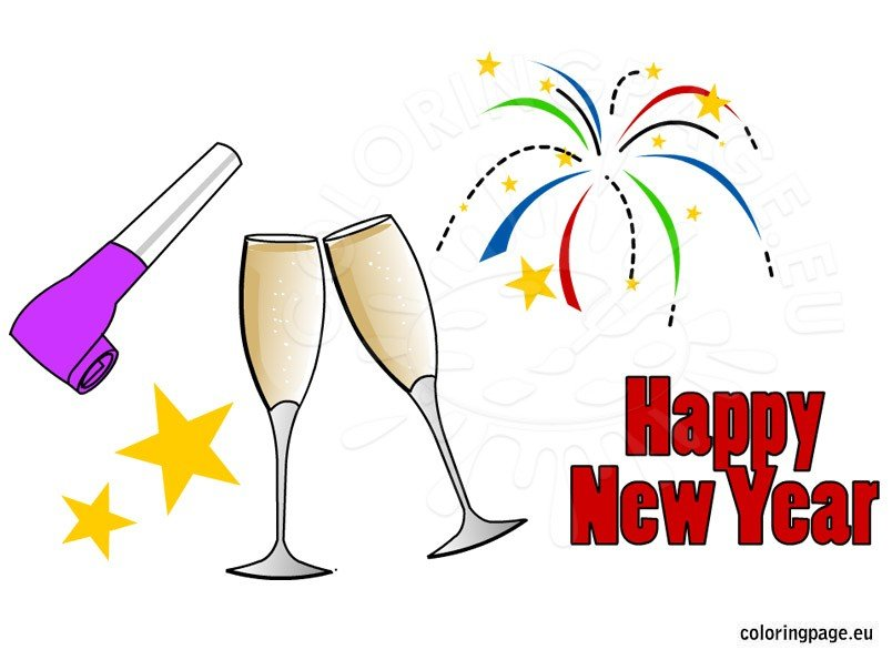 New Years clip art | Coloring Page
