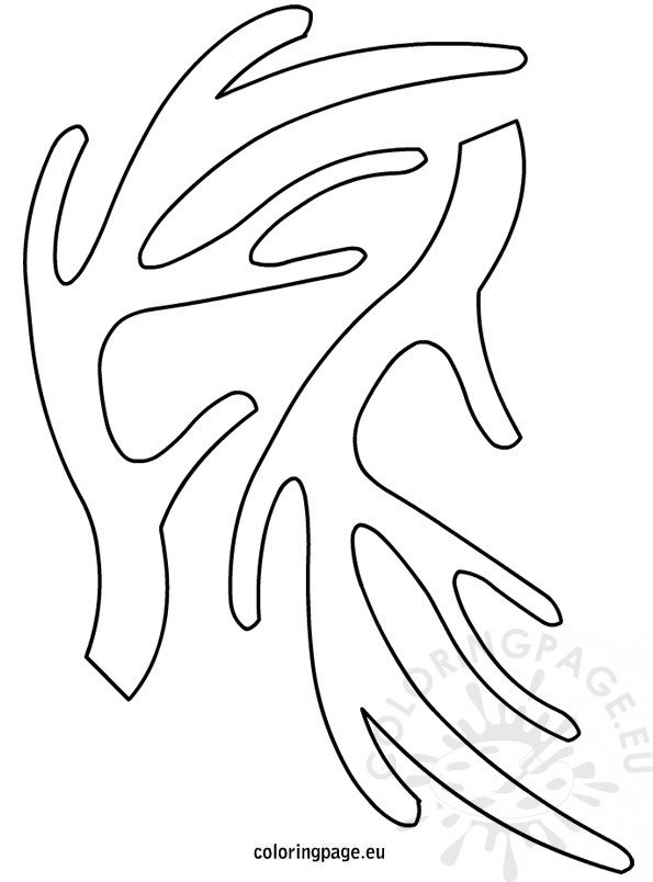 Reindeer antlers template coloring page for Rudolph antlers template