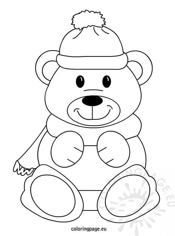 thanksgiving teddy bear coloring pages | Winter Teddy Bear – Coloring Page