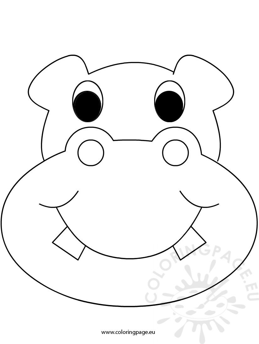 mask hippo coloring page
