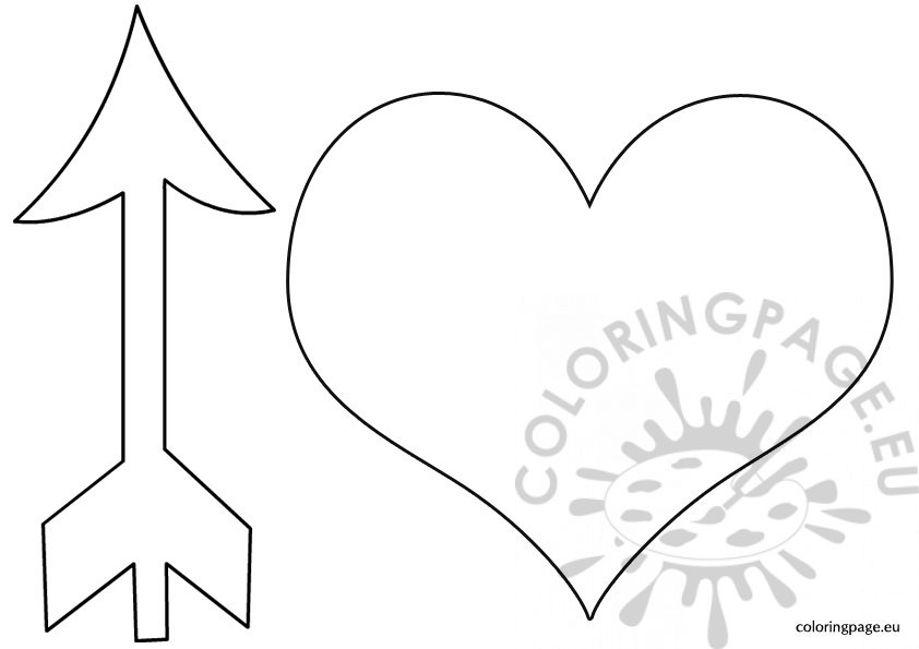 Coloring Page Of Bow And Arrow Heart