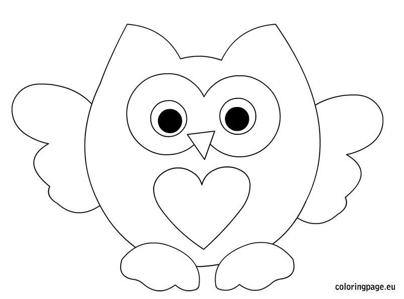 Dibujos Para Colorear Buhos Infantiles: Owl Heart Coloring Pages For Kids