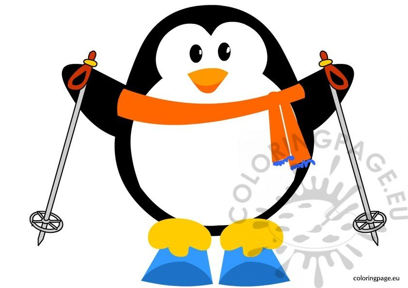 Penguin Skiing – Coloring Page