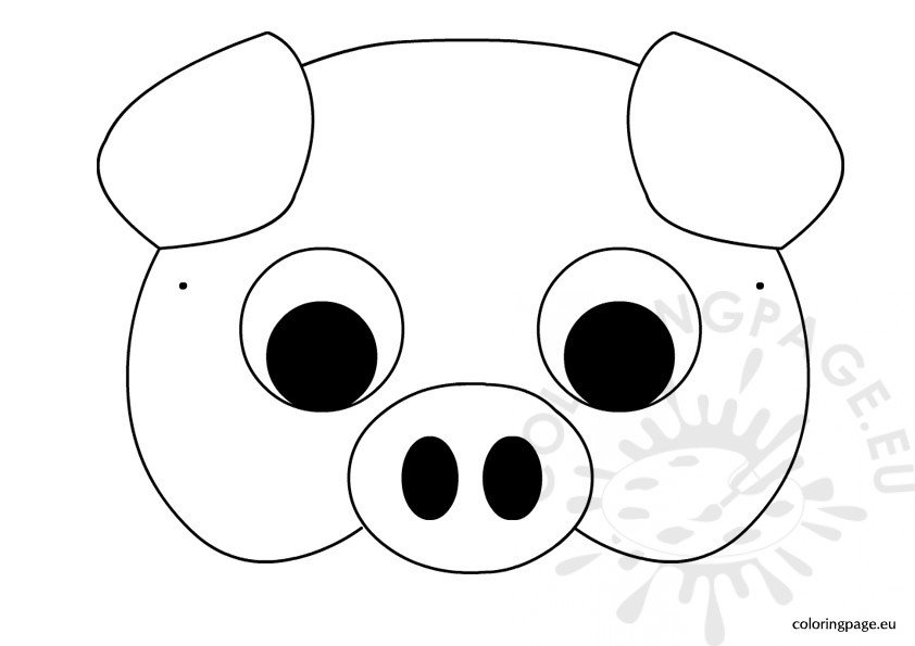 pig mask template coloring page