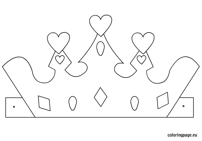 Princess crown template coloring page for Paper crown template for adults