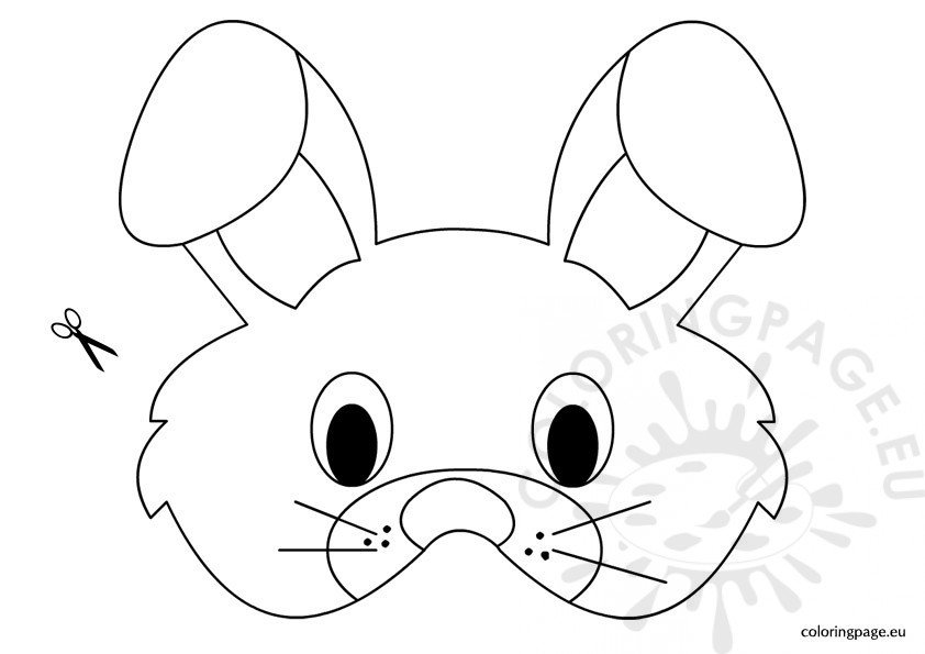 Rabbit mask template coloring page for Dog mask template for kids