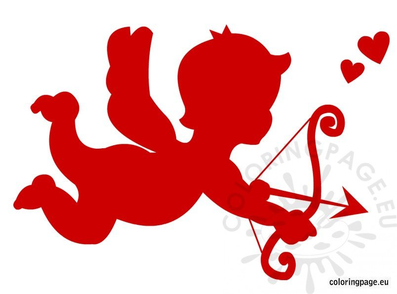 Red Cupid Clipart Coloring Page
