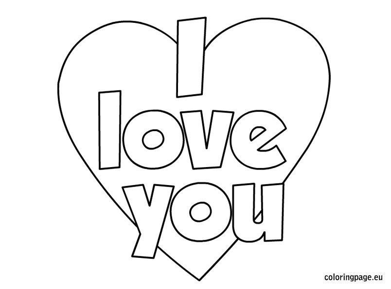 Coloring Pages I Love You : Valentine s day i love you coloring page