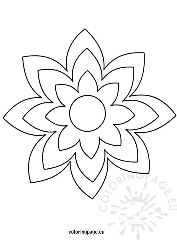 Coloring Pages Of Large Flowers : Large printable flower template coloring page