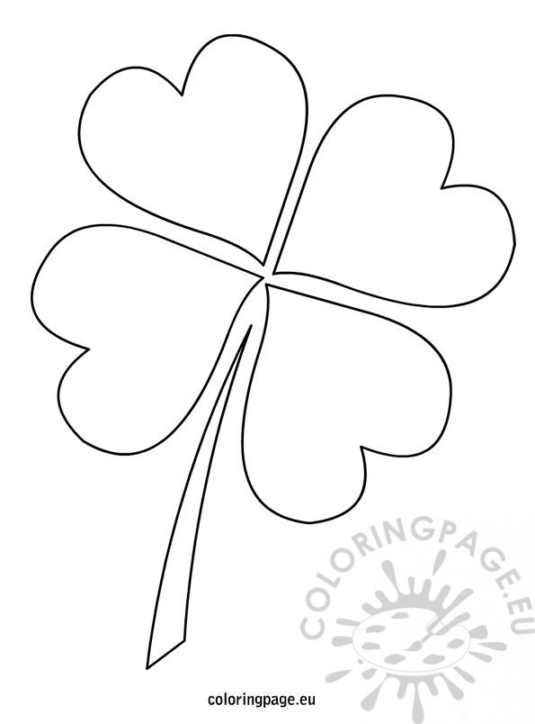4 leaf clover template coloring page