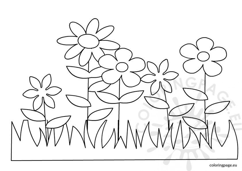 spring flower coloring pages - easter spring flowers coloring page