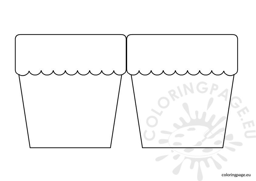 flower pot template Colouring Pages