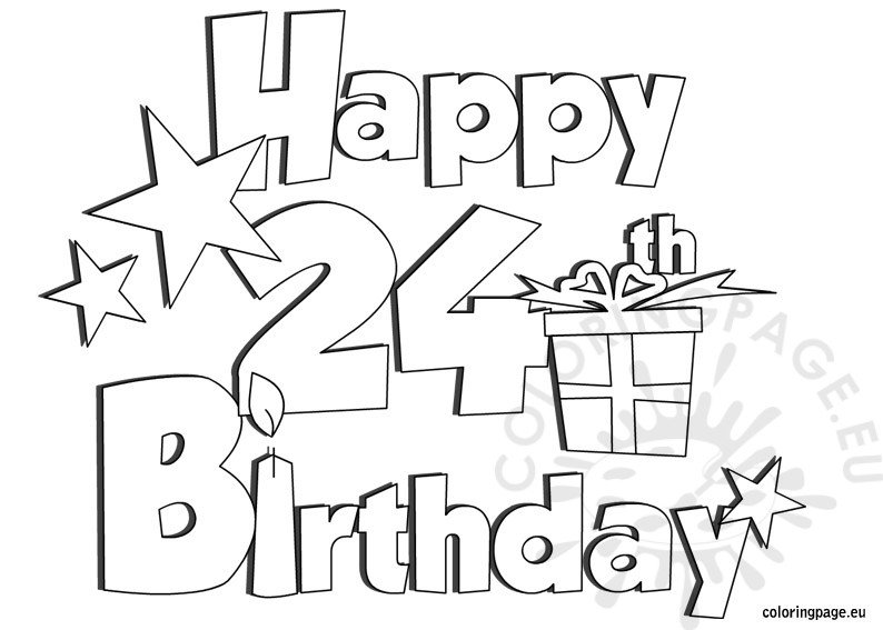 Happy 24 Birthday coloring page