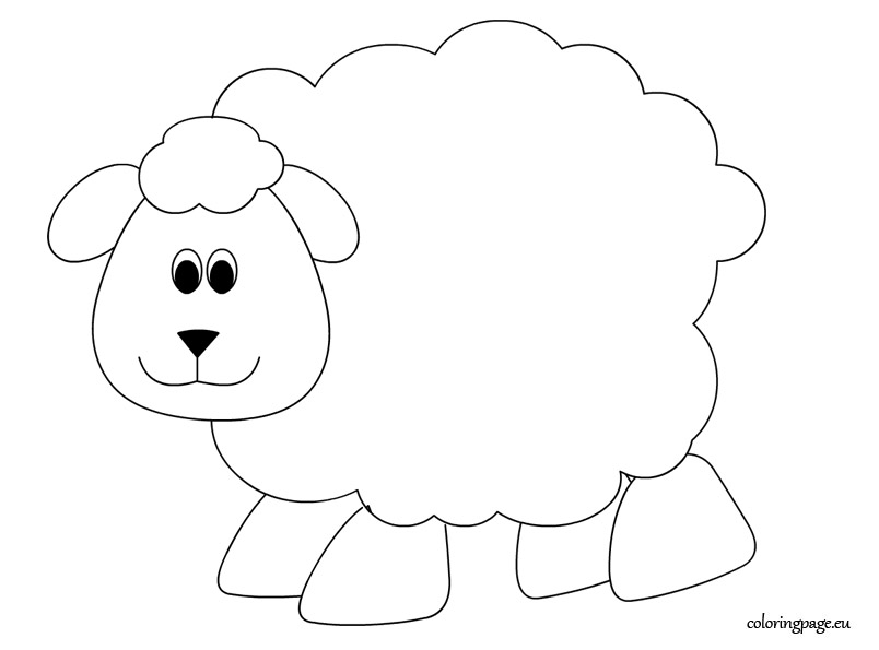 Sheep coloring page for Lamb template to print