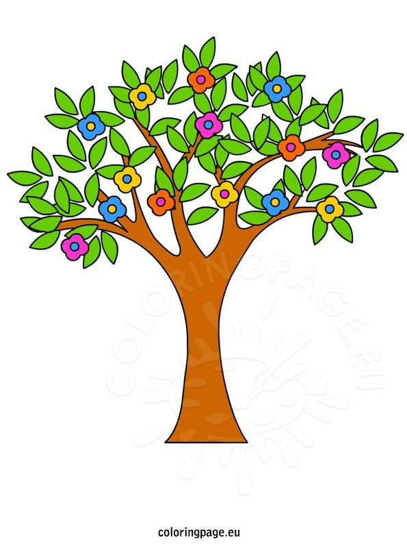 spring tree clip art coloring page rh coloringpage eu clip art of spring vines clip art of spring branch
