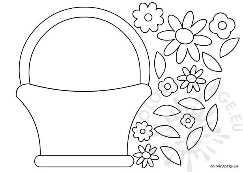 Basket flowers template Coloring Page