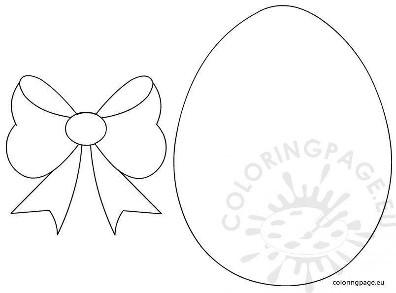 Easter Egg With Bow Template Coloring Page