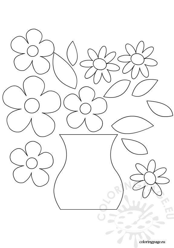 flower vase template  u2013 coloring page