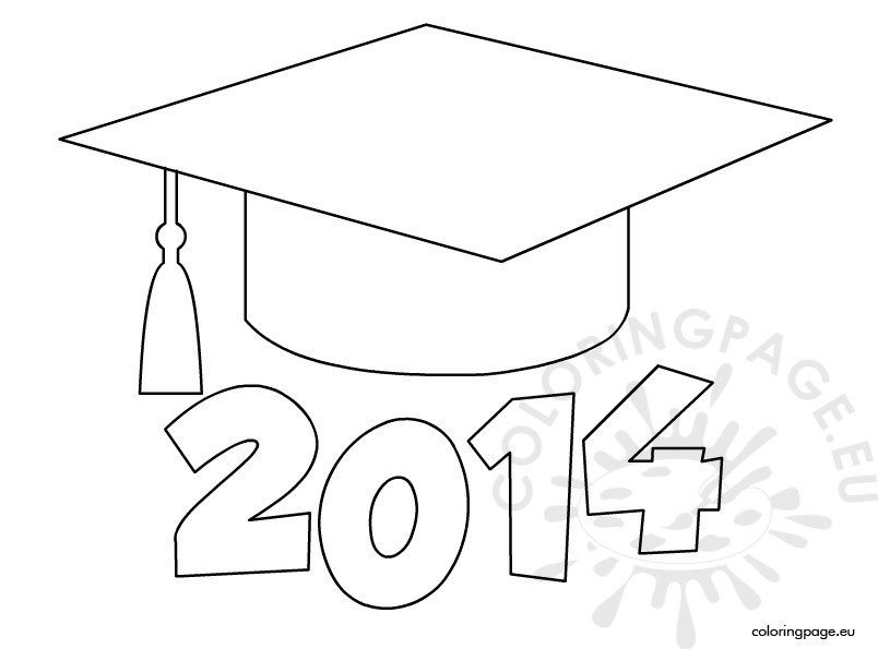 Graduation cap 2014 coloring page for Graduation cap and diploma coloring pages
