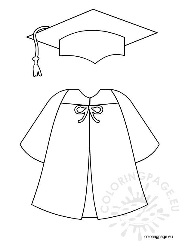 Graduation cap and gown coloring page for Graduation cap and diploma coloring pages