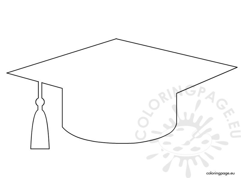 Graduation cap template coloring page for Graduation cap and diploma coloring pages