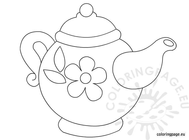 Teapot with flower pattern Coloring Page