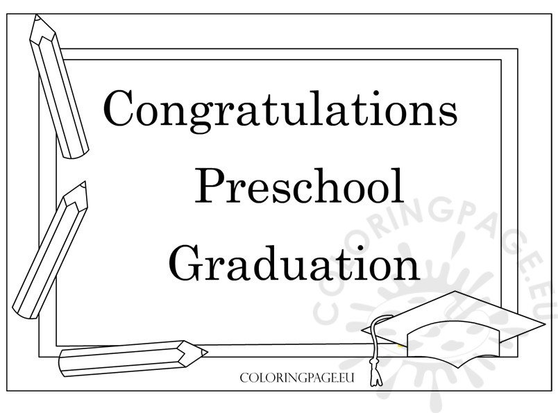 Preschool Graduation Certificate Template  Coloring Page