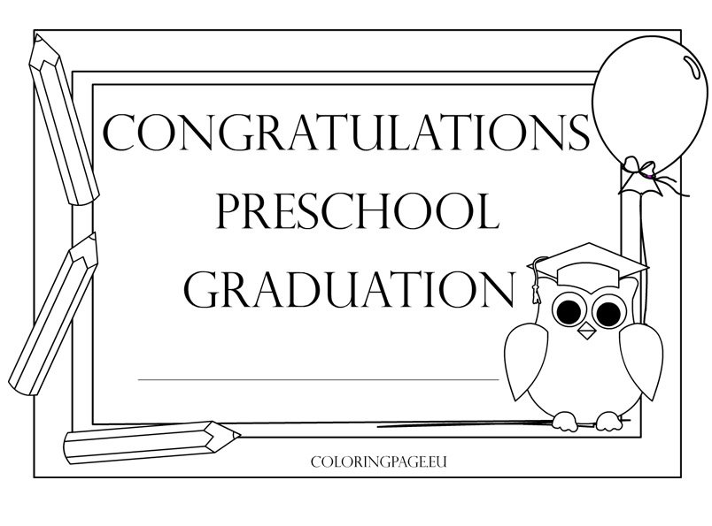 92 Coloring Pages For Preschool Graduation