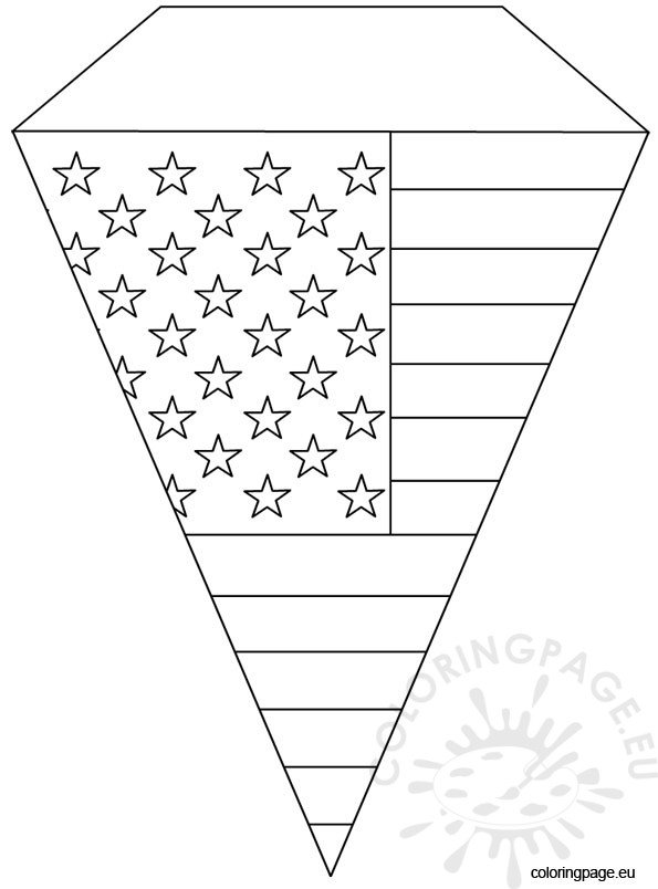 4th of July Pennant template Coloring Page