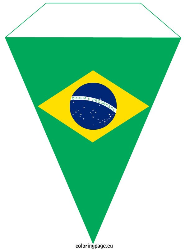 pennant with the national flag of brazil coloring page - Brazil Flag Coloring Page