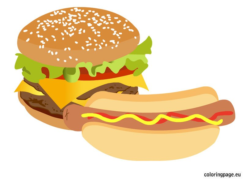 Fast Food clip art | Coloring Page