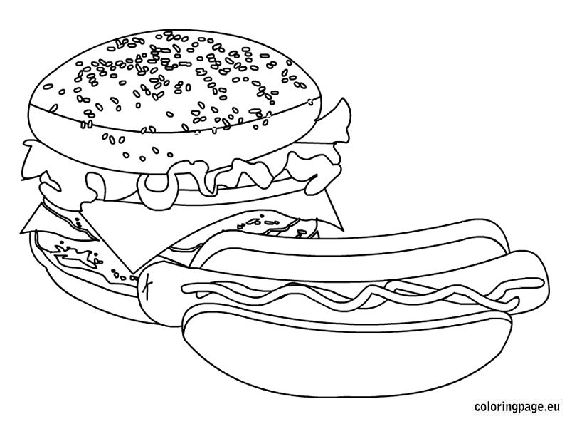 Fast Food Coloring Page