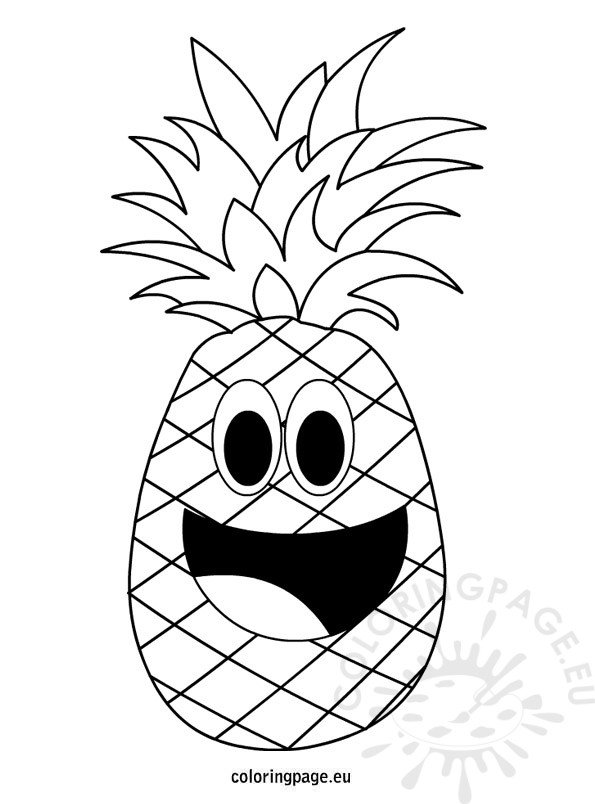 Cartoon Fruit Pineapple Outline Coloring Page