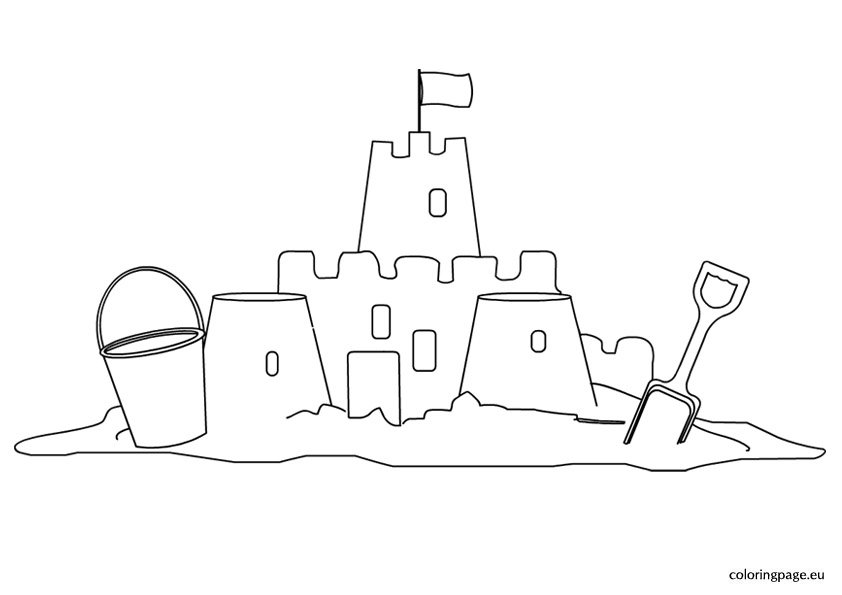 Sand Castle - Coloring Page