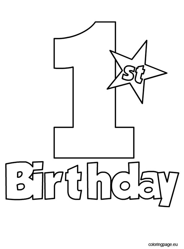 free 1st birthday coloring pages - photo#1
