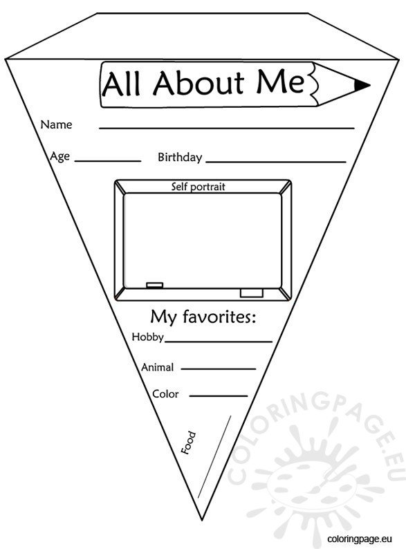 all about me coloring pages - pennant banner all about me coloring page