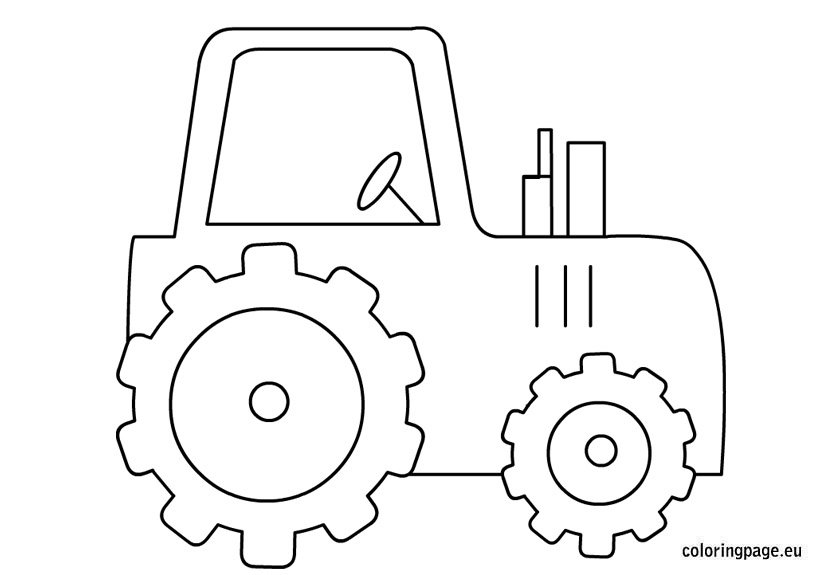 Transportation coloring page for Tractor template to print