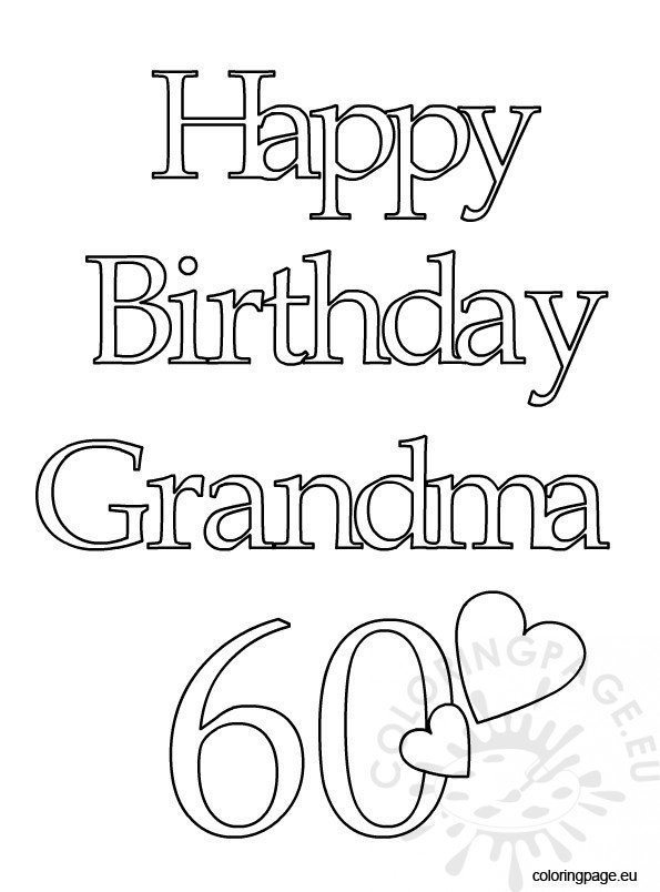 Happy Birthday Grandma 60 Coloring Page