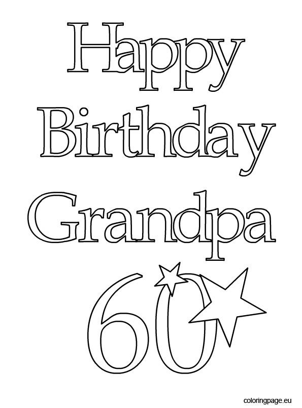 Happy Birthday Grandpa 60 - Coloring Page