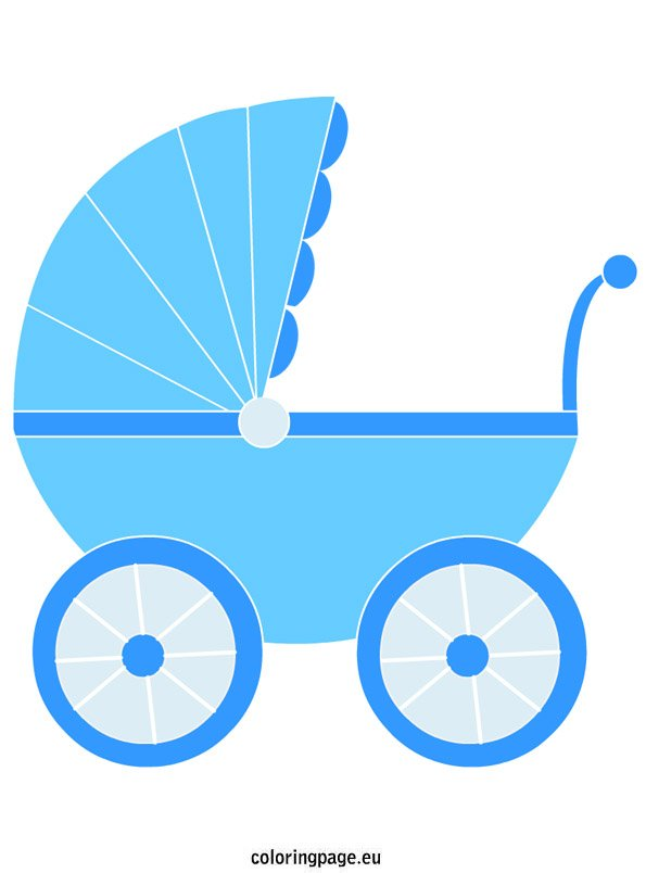 Blue Baby Carriage Coloring Page