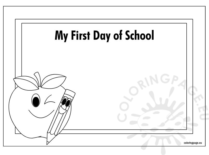 - Certificate First Day Of School – Coloring Page